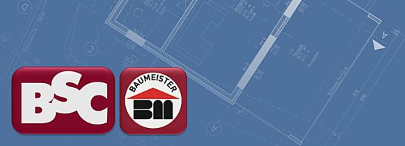 """hellblaue Grafik mit weißen Linien eines schräg gestellten Planausschnitts eines Einfamilienwohnhauses mit den Logos """"BSC"""" und """"Baumeister"""" in roter Umrandung"""