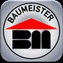 """Baumeister-Rundlogo mit oben dem Wort Baumeister in Blockschrift sowie im Zentrum den Buchstaben """"B"""" und """"M"""" und einem darüber stilisierten Dach"""