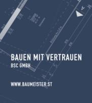 """Dunkelblaues Deckblatt mit weißen Linien eines Planausschnitts des Baumeister-Infoflyers """"Bauen mit Vertrauen"""" der BSC Brandschutzconsult Bautechnik GmbH und dem Baumeister-Logo"""