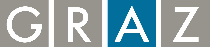 Logo der Landeshauptstadt Graz mit den farbig grau und blau einzeln eingefassten Blockbuchstaben G-R-A-Z   Sicherheitsportal der Stadt Graz