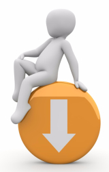 Weißes Animationsmännchen sitzt auf einem orangen Downloadbutton