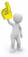 Weißes Animationsmännchen hebt mahnend einen gelben Zeigefinger hoch