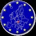Dunkelblaue EU-Kreisfläche mit gelben Sternen am Rand und einem kleinen rot-weiß-roten Österreich inmitten einer Europakarte, die dünne weiße Linien als Staatsgrenzen hat