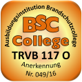 """Logo für """"BSC-College"""" brandschutzcollege.at als oranges Quadrat mit gerundeten Ecken und in weiß links oben den Buchstaben BSC unten dem Wort College, dazwischen ein nach rechts/oben zeigender Pfeil"""