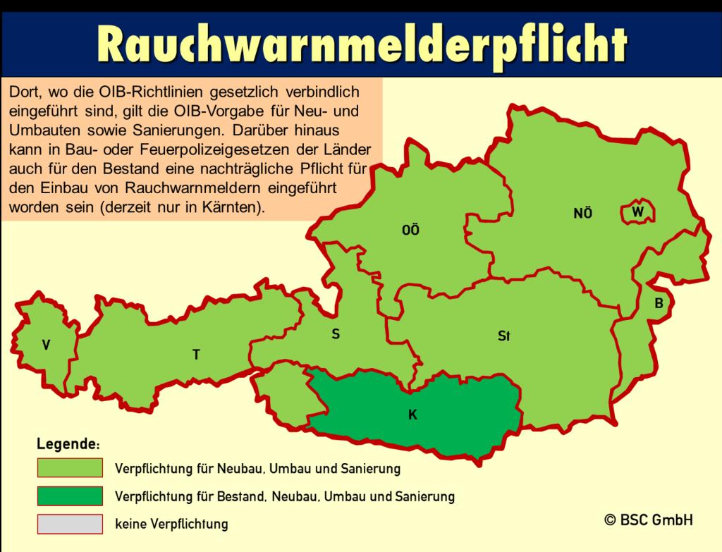 Flächendeckende Rauchwarnmelderpflicht für Neu- und Umbauten sowie Sanierungen in ganz Österreich (Bundesländer hellgrün). Dunkelgrün dargestellt das Land Kärnten mit Nachrüstpflicht auch im Bestand. Rauchwarnmelderpflicht in Österreich.