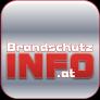 """Graues quadratisches Logo für """"Brandschutzinfo.at"""" mit dünnem roten Rand und ab der Mitte abwärts den in der Breite angepassten Wörtern """"Brandschutz"""", """"Info"""", """".at"""""""