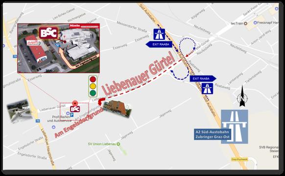 Das Bild stellt anhand eines Straßenkartenauszugs die Zufahrt zur BSC Brandschutzconsult Bautechnik GmbH kommend vom Autobahnzubringer Graz-Ost Abfahrt Raaba dar