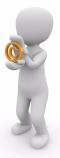 Weißes Animationsmännchen hält ein oranges Copyright-Zeichen