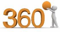 """Weißes Animationsmännchen, das auf die Zahlen 360 den Kreis für """"Grad"""" aufsetzt und damit den Rundumblick symbolisieren soll"""