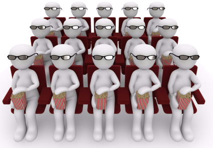 Gruppe an Animationsmännchen, sitzend wie im Kino mit 3D-Brille und Popcornbecher