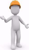 Weißes Animationsmännchen mit orangem Helm in fragender Körperhaltung