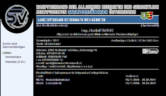 Abbild des Listeneintrags des Hauptverband der allg. beeid. und gerichtl. zertif. Sachverständigen Österreichs mit dem SV-Logo