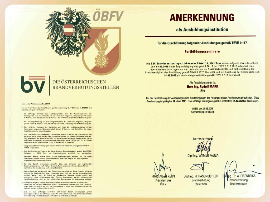 Anerkennungsurkunde als Ausbildungsinstitution und Ausbildungsleiter mit den Verbandsmarken des ÖBFV und der BV-Stellen