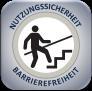 """Graues Logo """"Nutzungssicherheit.at"""" mit einem weißen Kreis in dem oben Nutzungssicherheit und unten Barrierefreiheit ausgeschrieben ist und im Zentrum eine fehlende Steinplatte einer Treppenstufe ist"""
